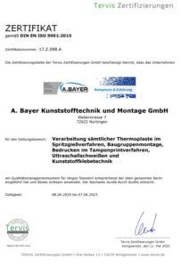 Bayer Kunststoffe ISO Zertifikat